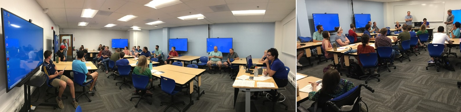 Photo First Meeting in the new Harshbarger 110 Collaborative Learning Space