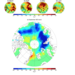 The linear trends of satellite retrieved (a-d) cloud fractions from March to June and (e) September sea ice concentrations over the Arctic regions in early twenty-first century (2000-20015). Image: Xiquan Dong