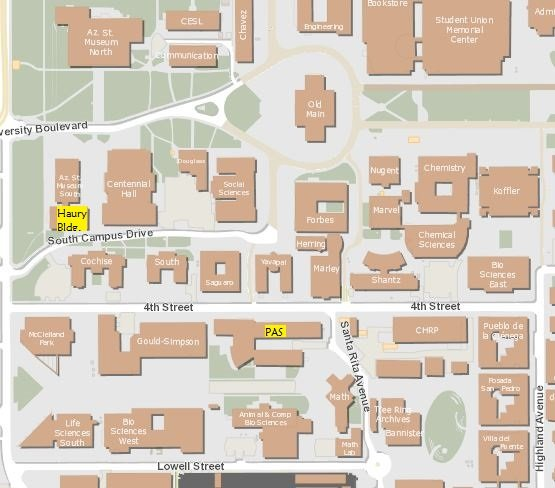 Map to Haury Building